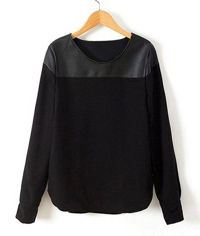 Casual Round Collar PU Leather Splicing Long Sleeves Black Women's T-shirt - BLACK M