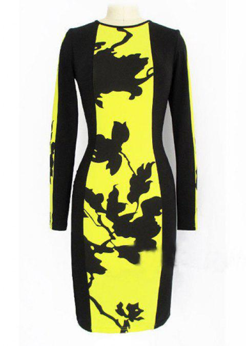 Fashionable Round Collar Long Sleeve Print Design Packet Buttock Dress - YELLOW S