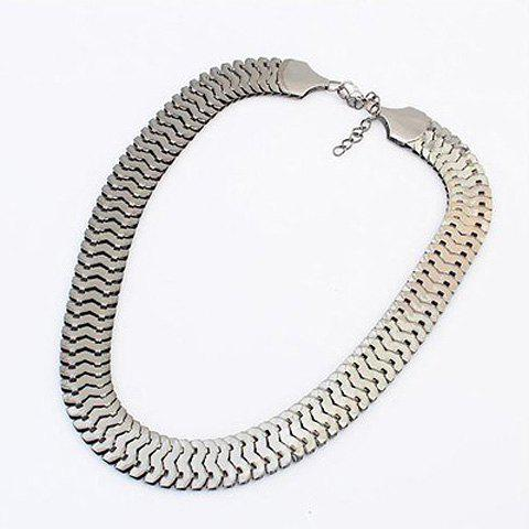 Wide Alloy Chain Necklace - SILVER