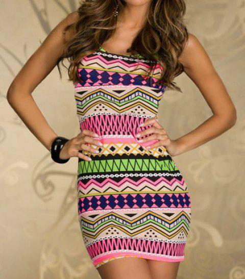 Geometrical Print Bodycon Dress with T-back - GREEN/PINK ONE SIZE