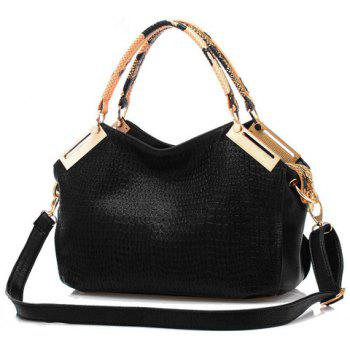 Trendy Metal and Crocodile Print Design Tote Bag For Women - BLACK BLACK