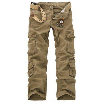 Outdoor Style Bleach Wash Multi Pockets Cotton Blend Men's Long Cargo Pants