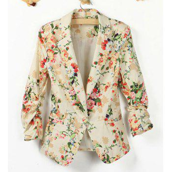 Fashionable Lapel Collar Floral Print One-Button 3/4 Sleeve Women's Blazer