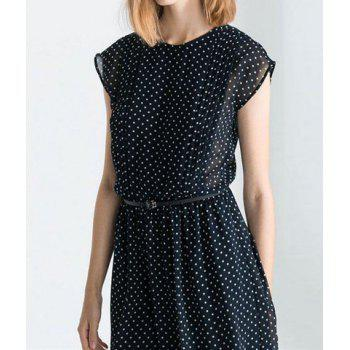 Casual Round Collar Polka Dots Back Single-Breasted Short Sleeves Chiffon Women's Dress