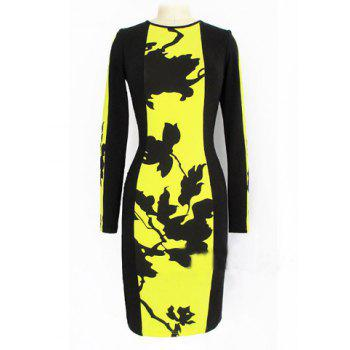 Fashionable Round Collar Long Sleeve Print Design Packet Buttock Dress