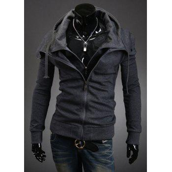 Stylish Faux Twinset Slimming Hooded Thicken Long Sleeve Cotton Blend Men's Coat - DEEP GRAY 2XL