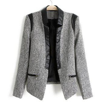 Fashionable Stand Collar Leather Splicing Long Sleeves Women's Blazer