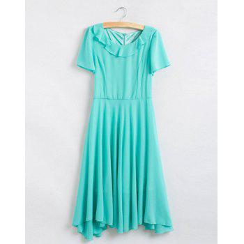 Cute Turn-Down Collar Belt Embellished Short Sleeves Irregular Hem Women's Dress