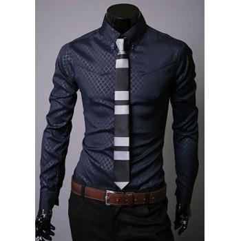 Long Sleeve Lapel Hidden Plaid Dress Shirt