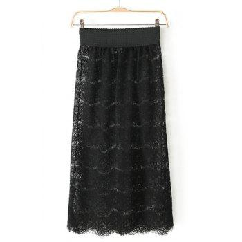 Fashionable Elastic Waist Embroidery Lace Women's Skirt