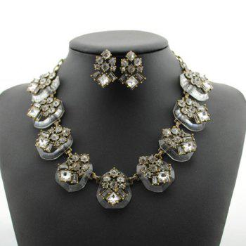 Chic Faux Crystal Embellished Necklace and Earrings For Women