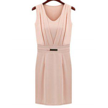V-Neck Solid Color Ruched Sleeveless Women's Dress