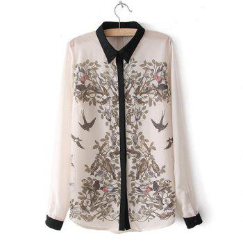 Trendy Turn-Down Collar Ink Magpie Print Color Splicing Long Sleeves Women's Shirt - OFF-WHITE OFF WHITE