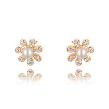 Pair of Faux Pearl Embellished Diamante Flower Earrings