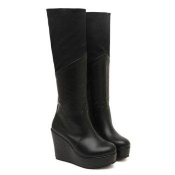 Fashion Black Splice and Wedge Design Knee High Boots For Women