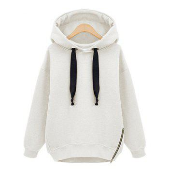 Casual Solid Color Elastic Drawstring Zipper Decorated Long Sleeves Women's Hoodie