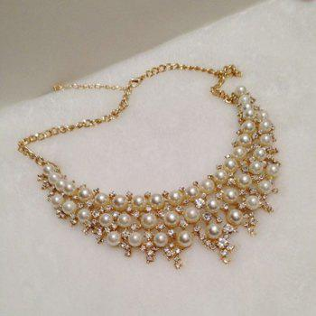 Chic Diamante Multilayered Faux Pearl Necklace For Women - AS THE PICTURE AS THE PICTURE