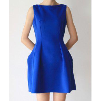 Scoop Collar Blue Waisted Fashion Sleeveless Slimming Dress