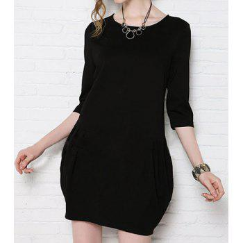 OL Style Round Collar Zipper Solid Color 3/4 Sleeve Loose-Fitting Women's Dress