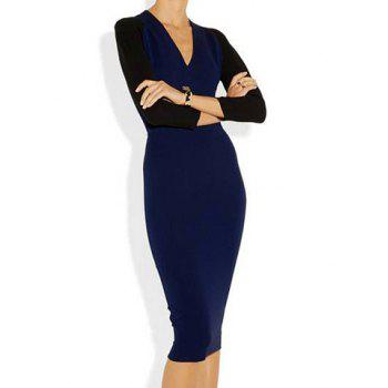 Simple V-Neck Back Zipper Color Splicing 3/4 Sleeve Bodycon Women's Dress - SAPPHIRE BLUE S