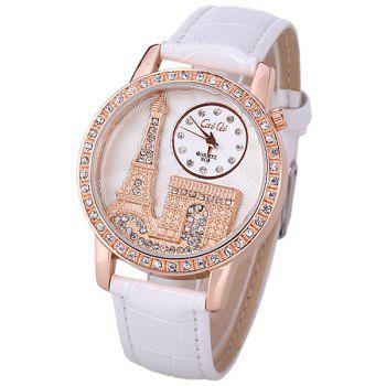 Quartz Watch with Diamonds Analog Indicate PU Leather Watch Band Tower Pattern for Women - WHITE WHITE