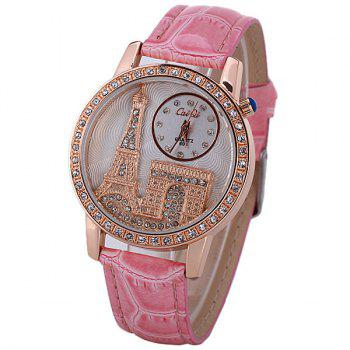 Quartz Watch with Diamonds Analog Indicate PU Leather Watch Band Tower Pattern for Women - PINK PINK