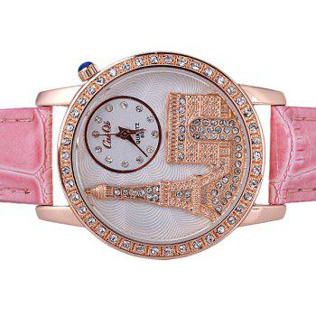 Quartz Watch with Diamonds Analog Indicate PU Leather Watch Band Tower Pattern for Women -  PINK