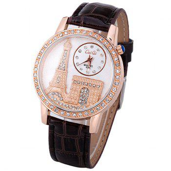 Quartz Watch with Diamonds Analog Indicate PU Leather Watch Band Tower Pattern for Women