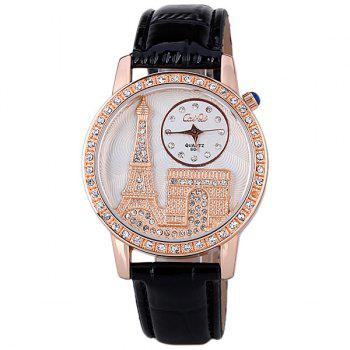 Quartz Watch with Diamonds Analog Indicate PU Leather Watch Band Tower Pattern for Women -  BLACK