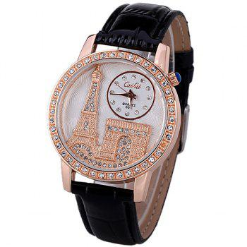 Quartz Watch with Diamonds Analog Indicate PU Leather Watch Band Tower Pattern for Women - BLACK BLACK