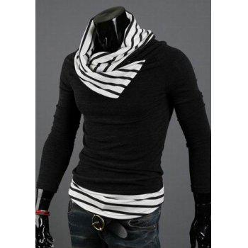 Casual Special High Collar Pullover Stripe Men's Long Sleeve Cotton Blend Sweater - STRIPES M