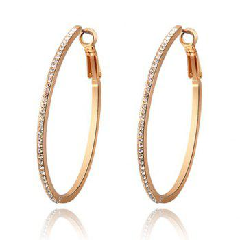 Pair of Characteristic Rhinestoned Alloy Hoop Earrings