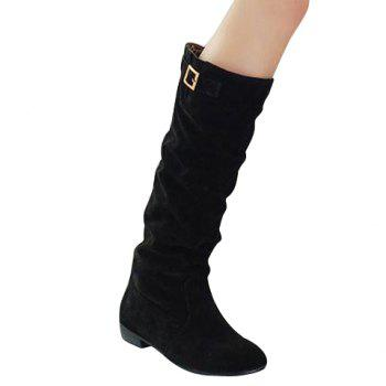 Simple Buckle and Solid Color Design Boots For Women