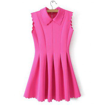 Sweet Turn-Down Collar Back Zipper Petals Hem Sleeveless Pleated Women's Dress