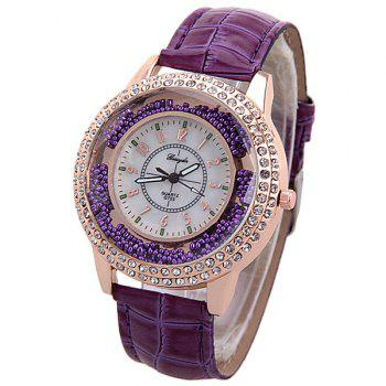 Diamonds Quartz Watch for Women with 12 Arabic Numbers Hour Marks and Snake Stripe Leather Watch Band - PURPLE PURPLE
