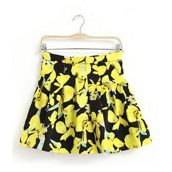 Fashionable Elastic Waist Floral Print Color Splicing Pleated Women's Skirt