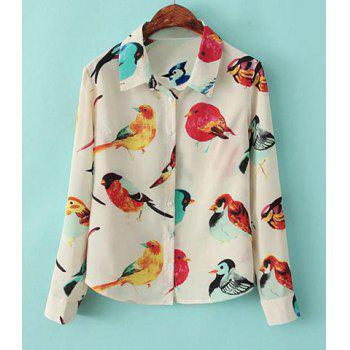 Turn-Down Collar Colored Bird Long Sleeves Single-Breasted Women's Chiffon Blouse - OFF-WHITE L