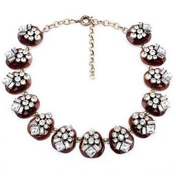 Faux Gemstone Embellished Chain Necklace