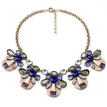 Chic Transparent Colored Faux Crystal Pendant Alloy Necklace For Women
