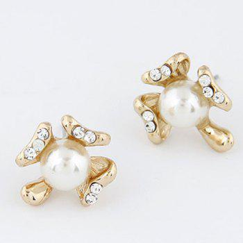 Pair of Rhinestoned Design Flower Shape Pearl Stud Earrings