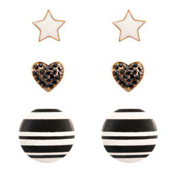 3 Pairs of Vintage Heart Star and Round Stud Earrings