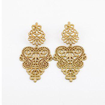 Pair of Vintage Openwork Flower Vine Carving Drop Earrings