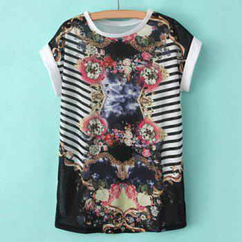 Scoop Collar Floral Print Splicing Stripe Short Sleeves T-shirt For Women - WHITE WHITE
