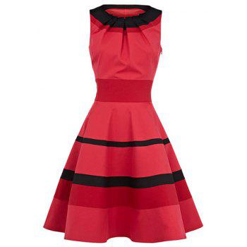 Women's Graceful Stripe Narrow Waist Flouncing Pleated Sleeveless Dress
