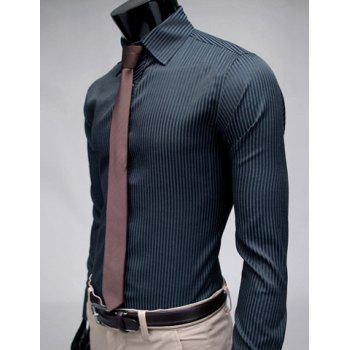 Stylish Lapel Stripe Slim Fit Long Sleeve Cotton Men's Dress Shirt