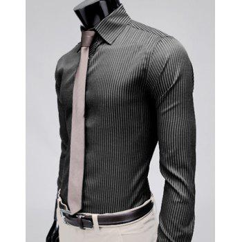 Stylish Lapel Slim Fit Men's Long Sleeve Cotton Dress Shirt