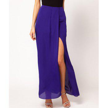 Charming Zipper Solid Color Jag Slimming Chiffon Skirt For Women