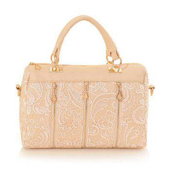 Elegant Lace and Zipper Design Tote Bag For Women