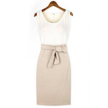 Elegant Scoop Neck Color Block Hollow Out Bow Embellished Sleeveless Dress For Women