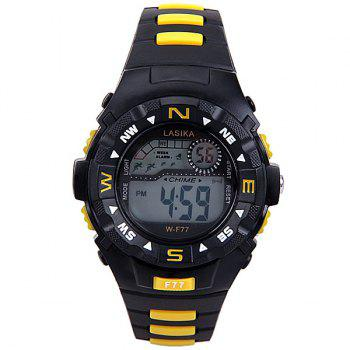 Water Resistant Men's Watch with Blue LED Number Hour Marks and Rubber Watchband -  YELLOW